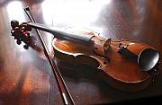 Violins Photos - Violin on table by Steve Somerville