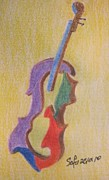 Violin Drawings Prints - Violin Print by Safa Al-Rubaye