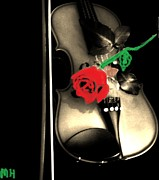 Drawn Mixed Media Prints - Violin with a Rose Print by Marsha Heiken