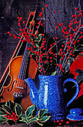 Holly Berry Still Life Prints - Violin with blue pot Print by Garry Gay