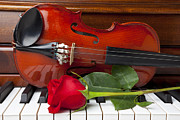Music Framed Prints - Violin with rose on piano Framed Print by Garry Gay