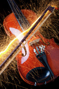 Violins Photos - Violin with sparks flying from the bow by Garry Gay