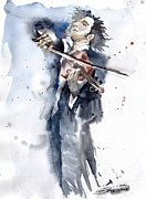 Player Prints - Violine player 1 Print by Yuriy  Shevchuk