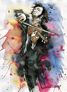 Vatercolour Paintings - Violine player. by Yuriy  Shevchuk