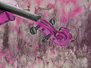Music Instrument Posters - Violinelle - Pink 03b2 Poster by Variance Collections