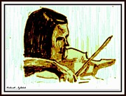 Violin Drawings Prints - Violinist with half a violin Print by Ashok Naraian