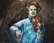 Fine Art  Of Women Paintings - Violinist1 by Denise Justice