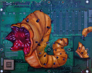 Technology Paintings - Viral Worm by Joe Dragt