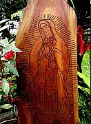 Red Reliefs Prints - Virgen de Guadalupe Print by Calixto Gonzalez