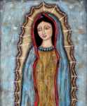 Folk Art Prints Framed Prints - Virgen De Guadalupe Framed Print by Rain Ririn