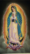 Mexicano Painting Metal Prints - Virgen Metal Print by Kasper Castillo