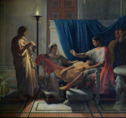 Rome Framed Prints - Virgil Reading the Aeneid Framed Print by Jean Auguste Dominique Ingres
