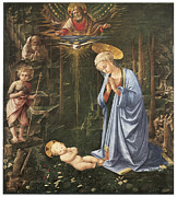 Religious Art Painting Posters - Virgin Adoring the Child Poster by Fra Filippo Lippi