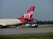 Passenger Plane Metal Prints - Virgin Airlines Signage Digital Art Metal Print by Thomas Woolworth