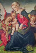Female Christ Posters - Virgin and Child and angel musicians  Poster by Piero di Cosimo