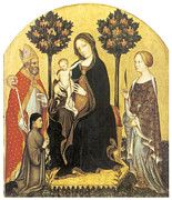 Virgin Mary Paintings - Virgin and Child Enthroned by Gentile Da Fabriano