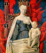 Christ Painting Posters - Virgin and Child Surrounded by Angels Poster by Jean Fouquet