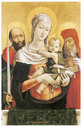 Religious Art Painting Posters - Virgin and Child With Saints Paul and Jerome Poster by Bartolomeo Vivarini