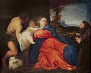 Christ Painting Posters - Virgin and Infant with Saint John the Baptist and Donor Poster by Titian