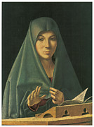 Religious Art Painting Posters - Virgin Annunciate Poster by Antonello Da Messina