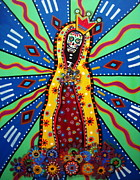 Our Lady Painting Framed Prints - Virgin Guadalupe Day Of The Dead Painting Framed Print by Pristine Cartera Turkus