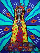 Virgen De  Guadalupe Art Framed Prints - Virgin Guadalupe Day Of The Dead Framed Print by Pristine Cartera Turkus