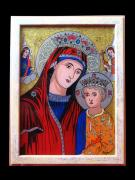 Traditional Glass Art - Virgin Mary and Baby Jesus by Cornelia Murariu