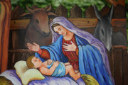 Virgin Mary Acrylic Prints - Virgin Mary and baby Jesus Acrylic Print by Gaspar Avila