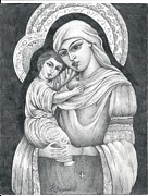 Virgin Mary Drawings Prints - Virgin Mary And  Baby Jesus Print by Kristina Saiyan