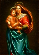 Virgin Digital Art Posters - Virgin Mary And Baby Jesus Poster by Pamela Johnson