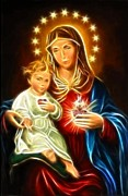 Mary And Jesus Posters - Virgin Mary And Baby Jesus Sacred Heart Poster by Pamela Johnson