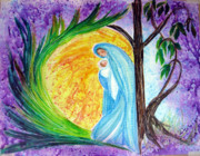 Virgin Mary Painting Originals - Virgin Mary Protectress by Sarah Hornsby