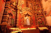 Virgin Mary Acrylic Prints - Virgin Mary Statue candles Mission San Xavier del Bac Acrylic Print by Thomas R Fletcher
