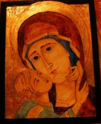 Virgin Mary Painting Originals - Virgin Mary Theotokos by Ciocan Tudor-cosmin