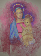 Pastel Paintings - Virgin Mary with Baby Jesus by Suzanne Giuriati-Cerny