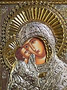 Icon Metal Prints - Virgin Mary with Child Jesus Greek Icon Metal Print by Jake Hartz