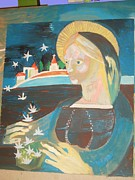 Virgin Mary Painting Originals - Virgin Mary with Edelweiss  by Eva Halus