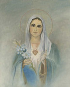 Jesus Art Paintings - Virgin Mother Mary by Cecilia  Brendel
