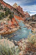 Water Flowing Framed Prints - Virgin River Flows through Zion Canyon - HDR Painting Framed Print by Gary Whitton