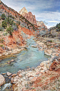 Water Flowing Framed Prints - Virgin River Flows through Zion Canyon - HDR Painting Version II Framed Print by Gary Whitton