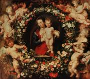 Peter Paul (1577-1640) Framed Prints - Virgin with a Garland of Flowers Framed Print by Peter Paul Rubens