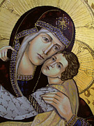 Byzantine Painting Framed Prints - Virgin with child - detail Framed Print by Iconos Art