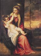 Titian (tiziano Vecellio) (c.1488-1576) Painting Framed Prints - Virgin with Child at Sunset Framed Print by Titian