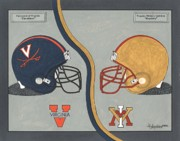 Cavaliers Painting Prints - Virginia Cavaliers and VMI Keydets Helmets Print by Herb Strobino