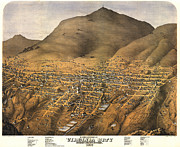 Vintage Map Digital Art Prints - Virginia City Nevada 1875 Print by Donna Leach
