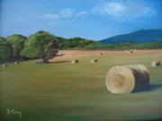Bales Paintings - Virginia Hay Bales by Donna Tuten