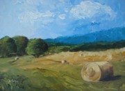 Bale Painting Metal Prints - Virginia Hay Bales II Metal Print by Donna Tuten