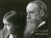 Famous Person Portrait Posters - Virginia Woolf With Her Father Poster by Photo Researchers