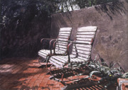 Garden Chairs Posters - Virginias Repose Poster by David Lloyd Glover