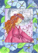 Astrology Drawings Posters - Virgo Poster by Cathie Richardson